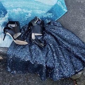 Topshop Sequin Skater Skirt